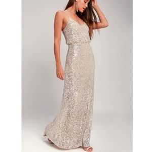 Lulu's Broadway Silver Sequin Sleeveless Maxi